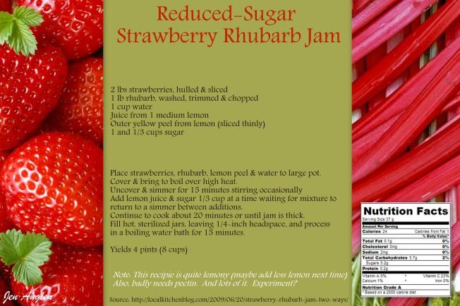 Reduced Sugar Strawberry Rhubarb Jam